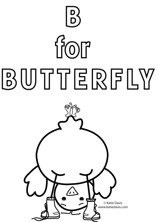 b for butterfly coloring pages - photo#49