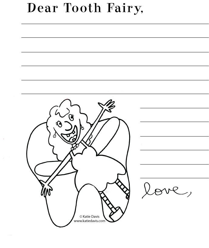 Tooth Fairy Coloring Pages Dear tooth fairy