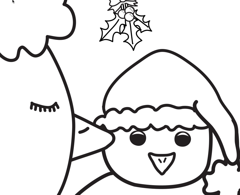 kiss from big chicken under the mistletoe coloring page